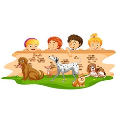 Children looking at dogs over the wall vector