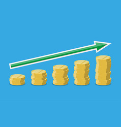 coins stacks with arrow upwards vector image