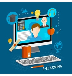 E-learning flat poster vector image vector image