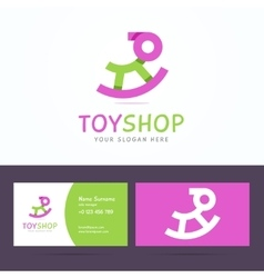 Logo and business card template for toy shop vector image