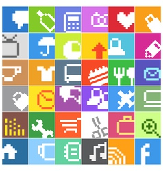 Modern social media color buttons interface icons vector image