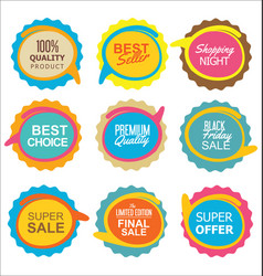 super sale and quality sticker collection vector image