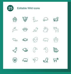 25 wild icons vector image