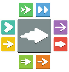 arrows icons - almost flat style - 9 colors vector image