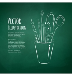 Art tools in holder vector image vector image
