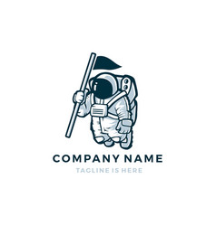 astronaut with flag mascot character logo icon vector image