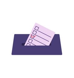 Ballot is lowered into ballot box vector