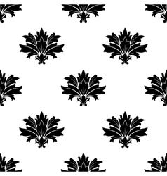 Black foliate motif in a seamless pattern vector
