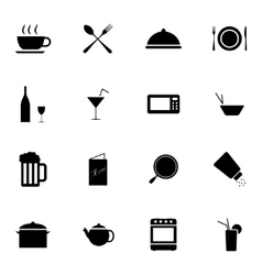 black food icons set vector image