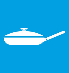 Black frying pan icon white vector