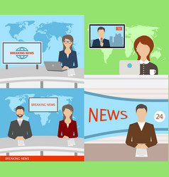 breaking news tv speakers reporters announcers vector image