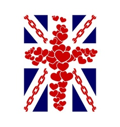 British flag t shirt typography graphics hearts vector image vector image
