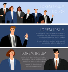 Business people cartoon banners vector