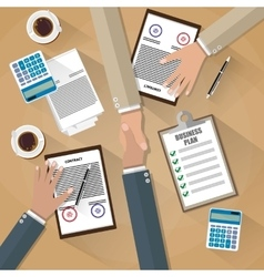 Businessman shake hands after signed contract vector