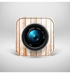 Camera icon with wooden texture vector