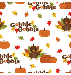 cartoon autumn turkey pattern vector image
