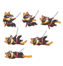Cat Ninja Dying Sprite vector image