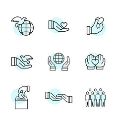 charity sponsorshipdonation and donor icon set vector image