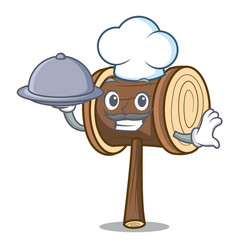 Chef with food mallet mascot cartoon style vector