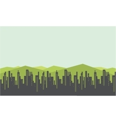 City and mountain scenery silhouettes vector