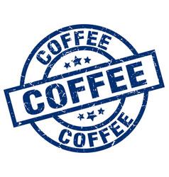 Coffee blue round grunge stamp vector