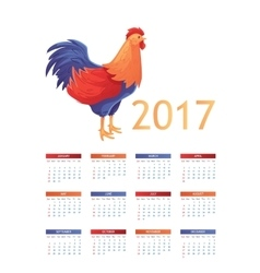 Colorful 2017 calendar with rooster - symbol of vector image