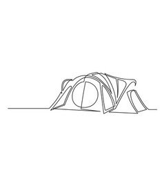 continuous one line drawing camping tent vector image