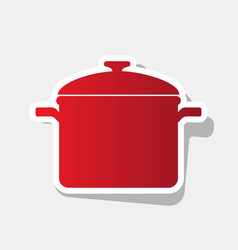 cooking pan sign new year reddish icon vector image