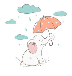 Cute elephant holds an umbrella vector