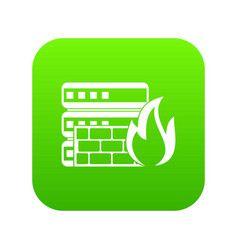 database and firewall icon digital green vector image