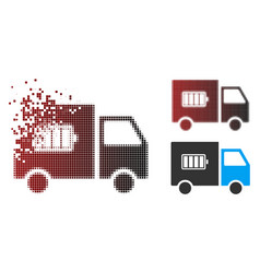 decomposed pixel halftone battery delivery truck vector image