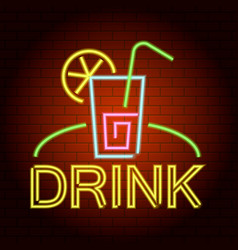 drink logo neon light icon realistic style vector image