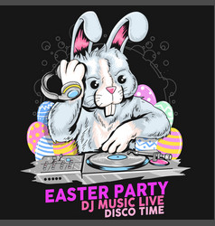 easter rabbit dj party vector image