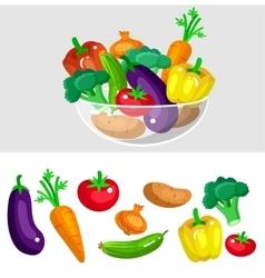 Eco food menu background Flat detailed vegetable vector image