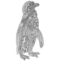 Entangle stylized penguin hand drawn vector