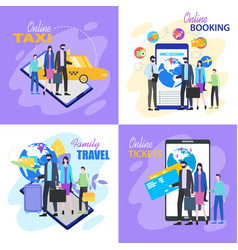 family travel buy ticket online taxi hotel booking vector image