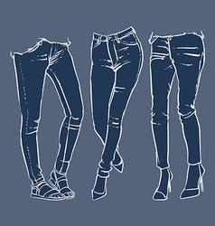 fashionable skinny denim jeans clip art vector image