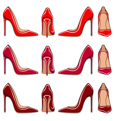 female red classic shoes with heels vector image
