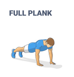 Full plank male home workout exercise guidance vector