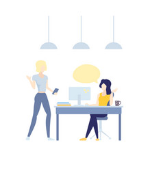 Girl at computer speaking with colleague vector