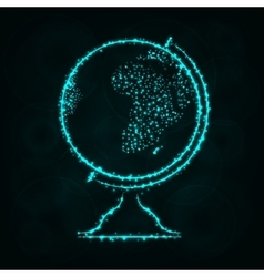 Globe silhouette of lights on dark background vector image