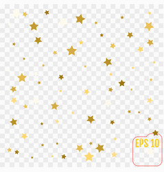 Gold glitter confetti stars background scatter on vector