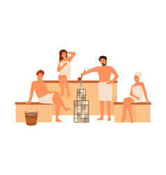 group people relaxing at public sauna vector image
