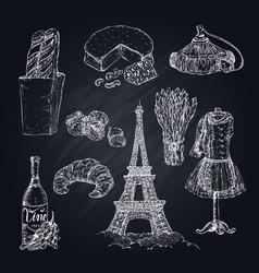 hand drawn paris symbols set vector image