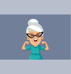 Happy cheerful strong grandma cartoon vector