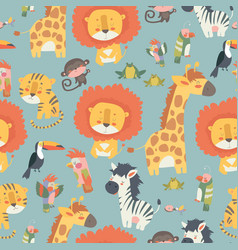 happy jungle animals seamless pattern vector image
