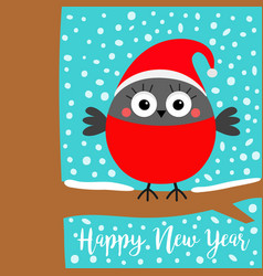 happy new year bullfinch winter red feather bird vector image