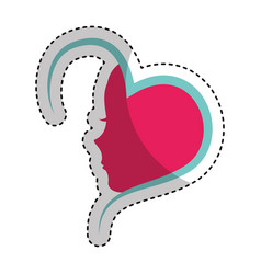 Heart with female profile icon vector