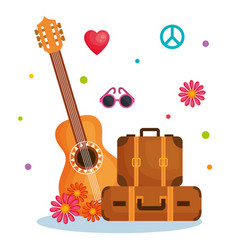 Hippie objects design vector