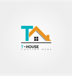 House icon template with t letter home creative vector